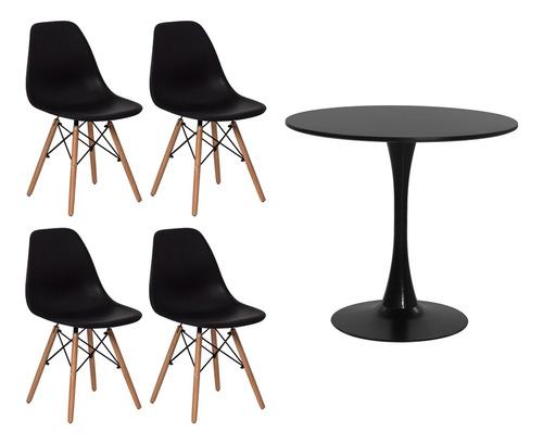 Imagem 1 de 9 de Conjunto Kit 4 Cadeiras Eiffel Eames+ 1 Mesa Saarinen Tulipa