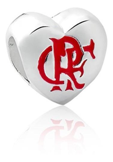 Berloque De Prata Coração Flamengo