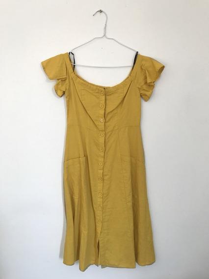 Vestido De Lino C/botones Forever21 Hombros Descubiertos