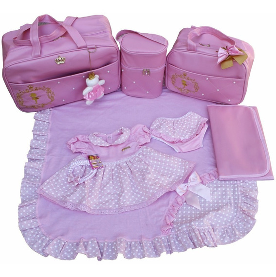 Kit Saída De Maternidade Com Bolsas Premium 4pc Menina Rosa
