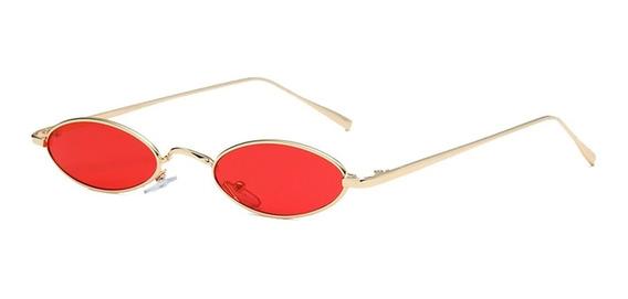 Oculos Oval Pequeno Lente Vermelha Retro