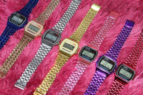 Kit 12 Relógios Masculino Unissex Cassio Retro Varias Cores