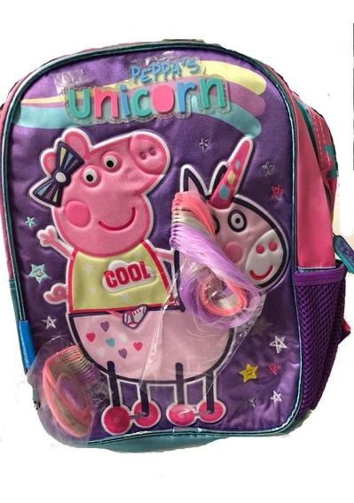 Mochila Peppa Pig Con Unicornio Jardin Espalda Original