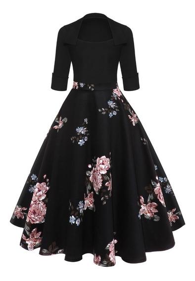 Vestido Estilo Vintage Estampado Floreado Negro Para Mujer