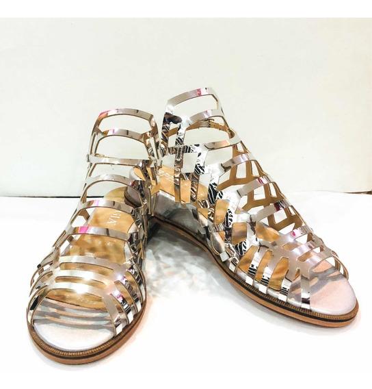 Sandalias Plata Metálico Moda Dama Casual Huarache Fashion
