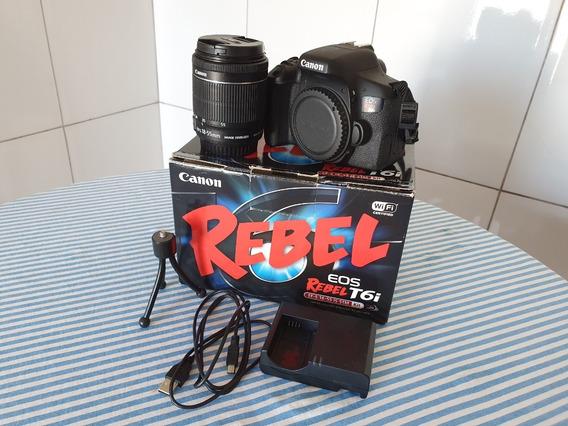 Câmera Canon Eos Rebel T6i Dslr 24.2 Mp E Lente 18-55mm Stm