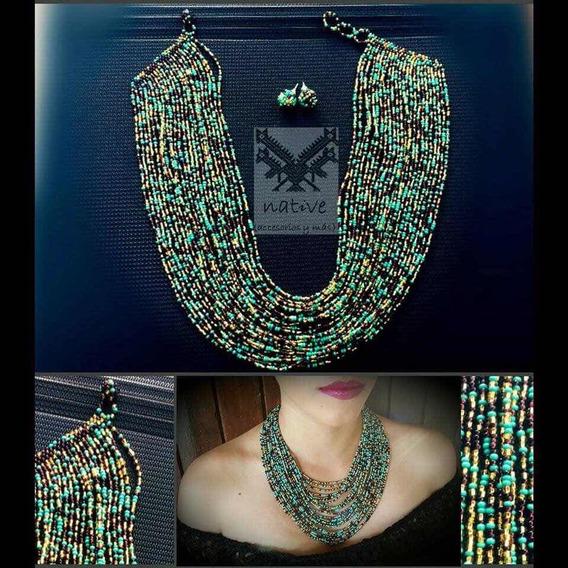 Collar, Pulsera Y Aretes Modelo 24 Hilos