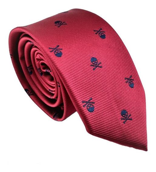 Corbata Roja Calaveras Bordadas Color Negro Hombre Moda