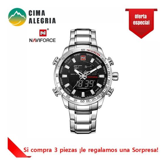 Reloj Naviforce #5 Cronógrafo Impermeable + Caja Para Hombre