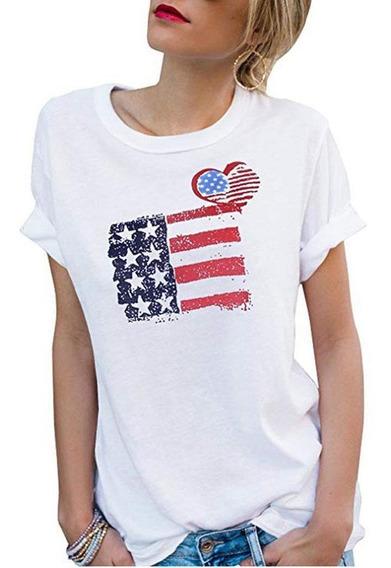 Camiseta Feminina De Moda Gola Redonda Manga Curta Com Estam