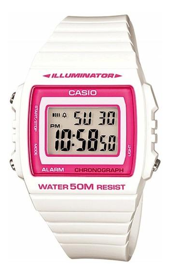 Reloj Mujer Casio W-215h-7a2v Blanco Digital / Lhua Store