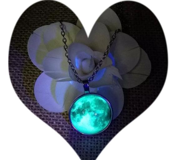 Collar Luna Morada Brilla En Oscuridad Acero Inox Moon20