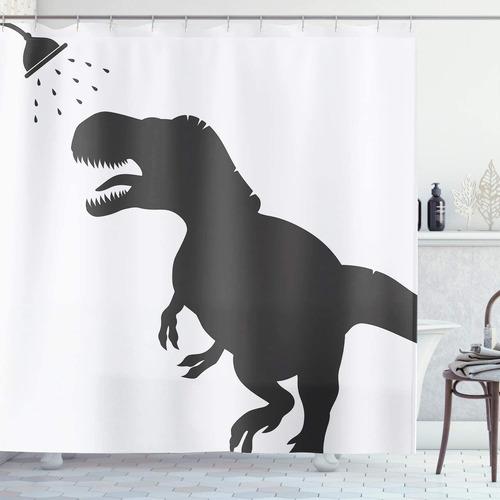Imagen 1 de 3 de Ambzek Cortina De Ducha De Dinosaurio Divertida Para Niños,