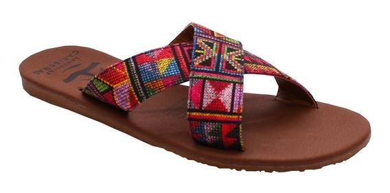 Sandalias Caribeñas Dama Color Café Y De Colores Cozumel