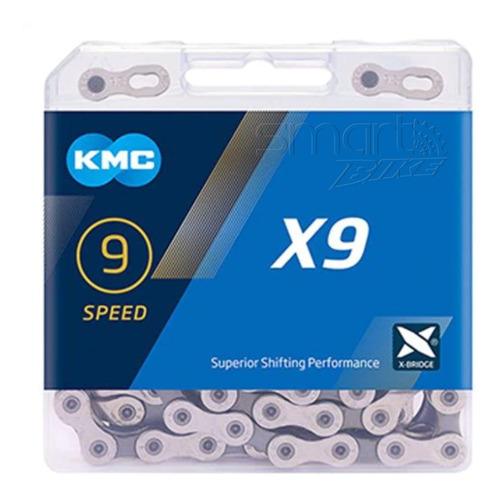 Corrente Bike Kmc X9 116 Elos 9v Prata Com Missing Link