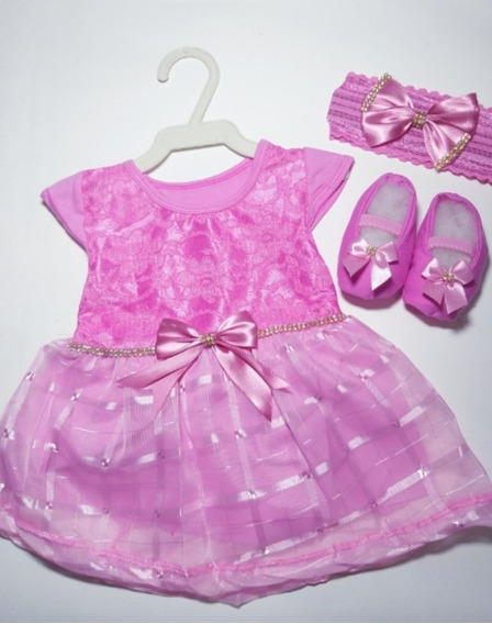 1 Kit Menina Vestido+sapato+faixa/ Promoção/ Bebê/ Infantil