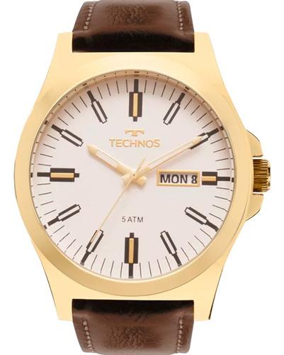 Relógio Technos Masculino Dourado Couro