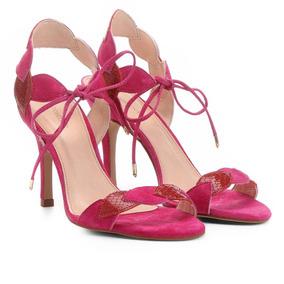 Sandália Couro Shoestock Salto Fino Folhas Feminina