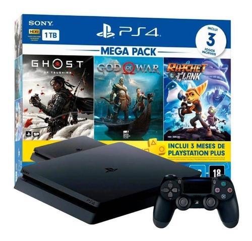 Imagem 1 de 2 de Console Playstation 4 Slim 1tb Mega Pack 18 Com 3 Jogos