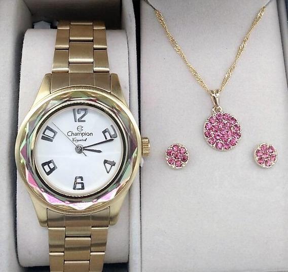 Relógio Champion Dourado Branco Crystal Diamantado Cn29990j