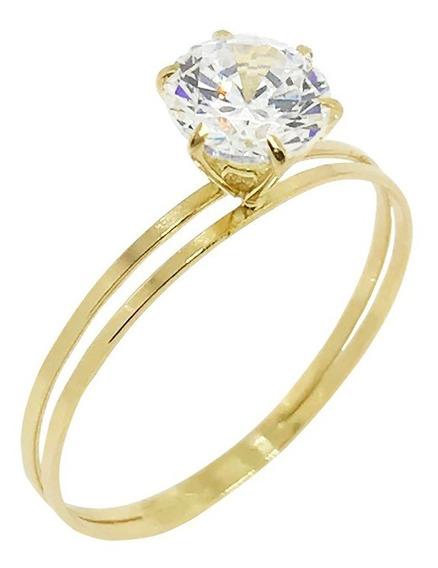 Anel Solitário Em Ouro 18k Pedra Zircônia Debutante Noivado