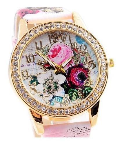 Relógio Feminino Flores Rosas Da Moda Watch Pulseira Couro Strass
