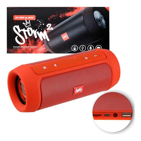 Caixinha De Som Portatil Bluetooth Usb 15w Storm 2 Vermelho