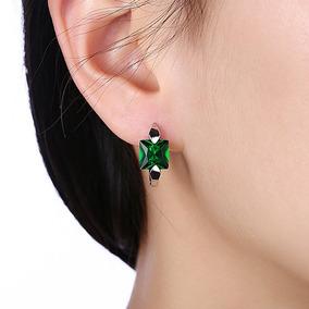 Mulher Elegante Verde Pingente Zircão Clássico Brincos Anel