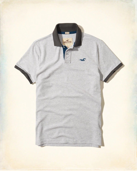 Hollister Caballero Polo Gris Clarito/azul Sale