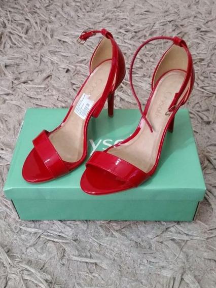 Sandália Salto Alto Fino Vermelho Crysalis N°37