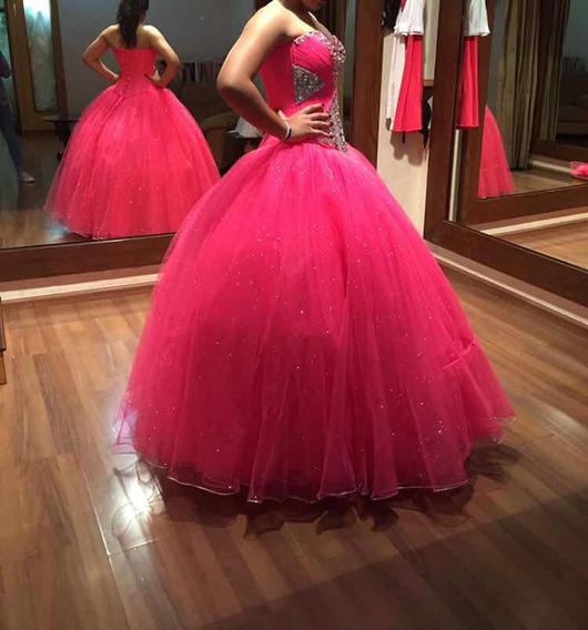 Vestido De Xv Años Color Rosa C/ Piedras Unitalla Seminuevo