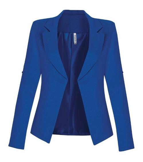 Saco 14550 Blazer Lino Azul Rey Evento Casual Formal Rinna