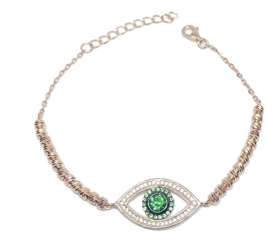 Pulseira Prata 925 Banho Ouro Rosé Olho Grego Verde