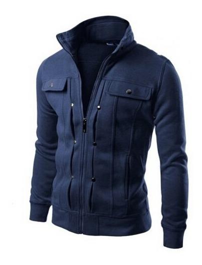 Blusa Moletom Slim B49 Jaqueta Casaco Moleton Masculino