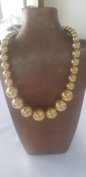 Colar De Bolas Folhado A Ouro 42cm Mais 7 De Extensor