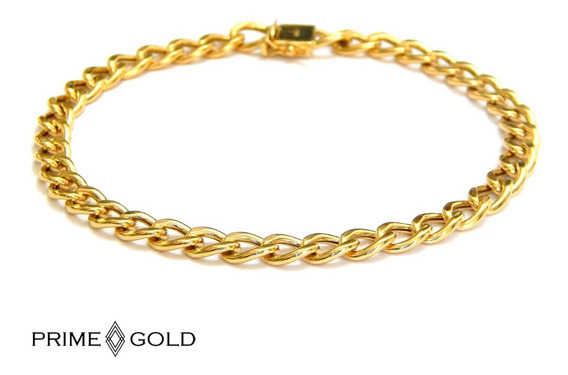 Pulseira Masculina De Ouro 18k Grumet