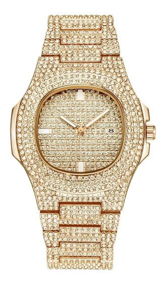 Reloj Diamantado Hombre Mujer Acero Inoxidable Lujo