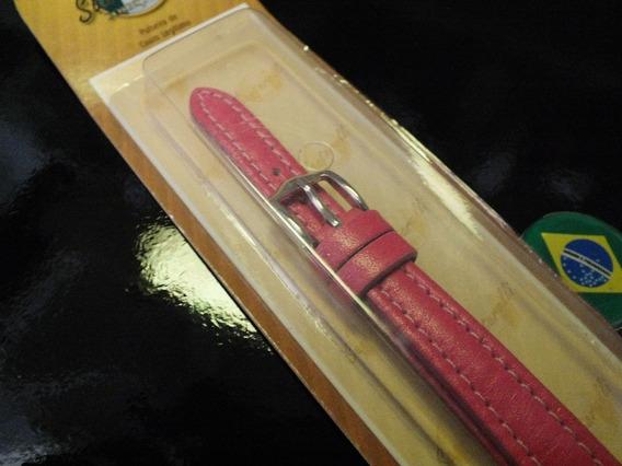 Pulseira Para Relógio Em Couro Vermelho Número 12 (1,2 Cms)