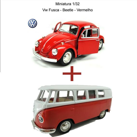 Kit Kombi + Fusca Miniatura Carrinho Ferro Pronta Entrega