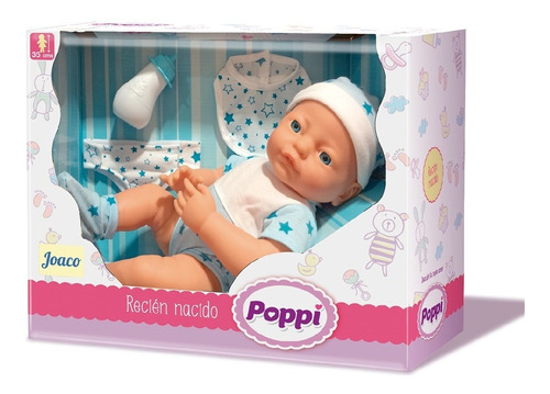 Imagen 1 de 3 de Muñeca Bebe Poppi Recien Nacido 35cm Con Accesorios Pc