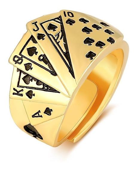 Anel De Luxo Poker Ajustável Cor De Ouro Grande 3 Camadas