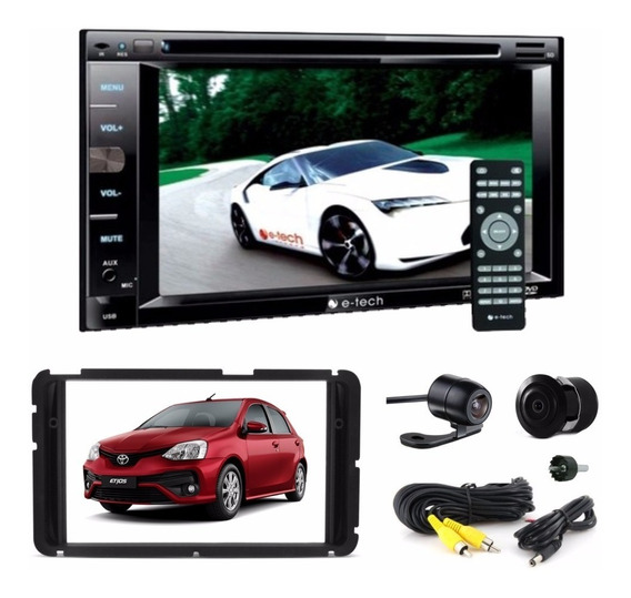 Kit Etios Dvd Player 2 Din Bt Usb Sd + Modura + Camera Ré