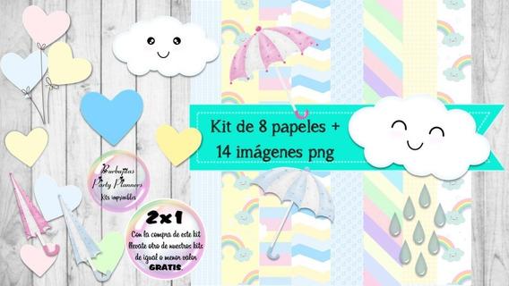 Cliparts Y Papeles Lluvia De Amor Mod. 5 Kit Imprimible