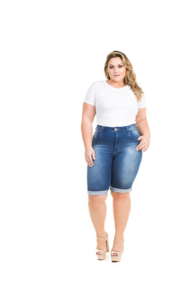 Bermuda Jeans Feminina Plus Size Com Lycra Strech Elastano