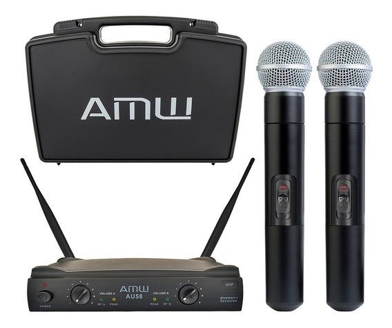 Microfone Sem Fio Duplo De Mão Uhf Amw Profissional + Estojo