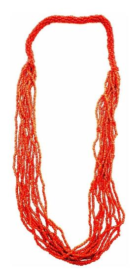 Colar Missanga Indiano Vermelho Coral