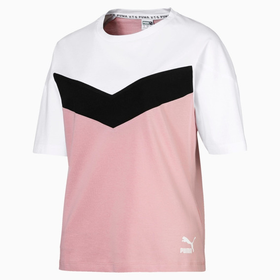 Puma Remera M/c Training Mujer Xtg Rosa - Negro - Blanco