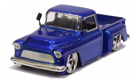 Miniatura Chevy Pickup Stepside 1955 Custom Azul Jada 1/24