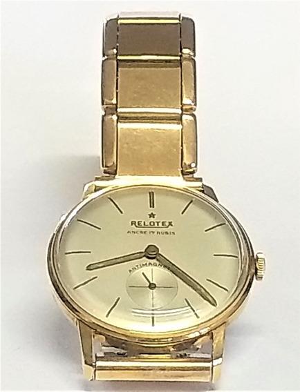 Relógio Pulso Relotex 4084 Anos 50 S/ Uso Plaquê Ouro 10 Mic