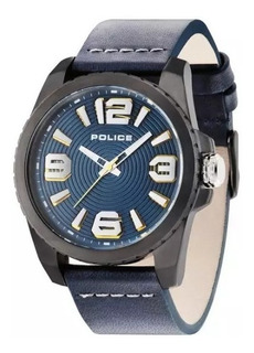 Reloj Police Hombre Cuero Azul 50 Mts Pl.14761jsu/03 +envio